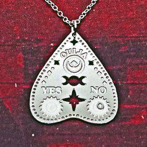 Triple Goddess Ouija Planchette Silver Necklace